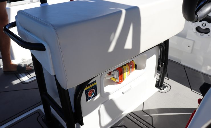 Flip up helm seat with optional storage box