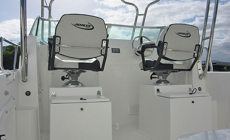 Helm seats on optional ice boxes