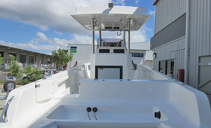 Transom to suit dual engines, transom door and bait station
