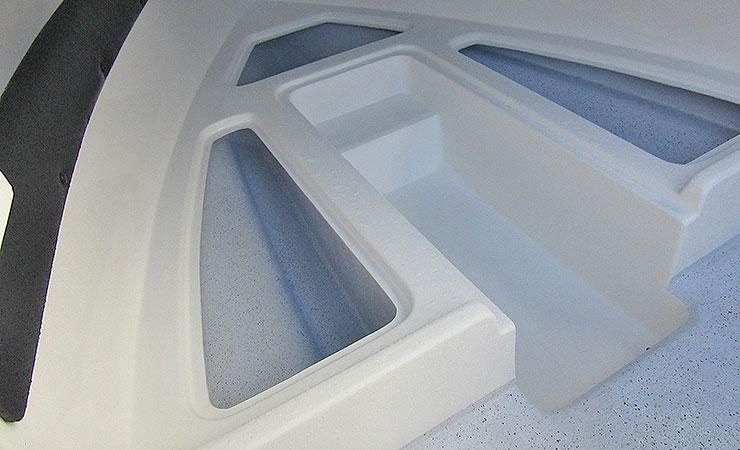 Three storage compartments under bunks